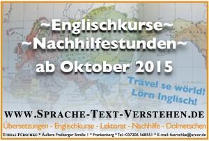 Englischkurse und Nachhilfe ab Oktober 2015